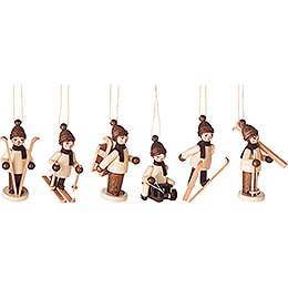 Tree Ornament - Winter Children natural, 6 pcs. - 6 cm / 2.4 inch