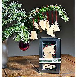 Tree Ornament - Wooden Ornaments in Metal Box, Set of 6 - 6 cm / 2.4 inch