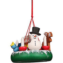 Tree Ornament - Wreath with Snowman - 4,5 cm / 1.8 inch