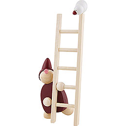 Wight with Ladder and Bird - Red - 20 cm / 8 inch