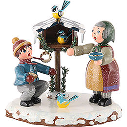 Winter Children Bird Feeding - 9 cm / 3,5 inch