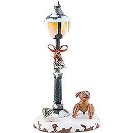 Winter Children Doggy under the Lamppost - 12 cm / 5 inch