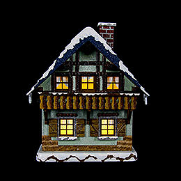 Winter Children House with Balcony Illuminated - 15 cm / 5,5 inch