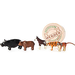 Zoo Animals in Wood Chip Box - 4 cm / 1.6 inch